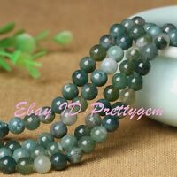 """2,3,4,6,8,10mm Natural Green Smooth Round Moss Agate Gemstone Beads Strand 15"""""""