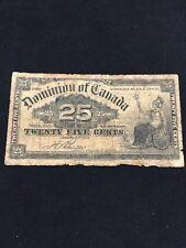 DOMINION OF CANADA 1900 SHINPLASTER 25 CENTS BOVILLE SIGNATURE