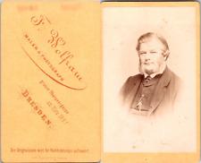 Wolfram, Dresden, Portrait homme mûr grands favoris Vintage CDV albumen carte de