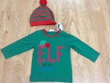 Boys Size 6-9 Months Next Green Elf Top & Red & Green Striped Hat -  New