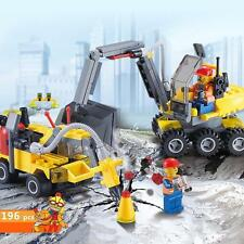 196pcs DIY City Engineering Team Building Block Set Educational Assemble Toy New