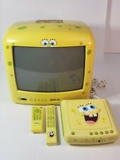 """Vintage Spongebob 13"""" Emerson TV and VCR combo  Both remote are included"""