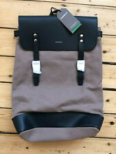 """SANDQVIST """"HEGE' BACKPACK. EARTH BROWN AND NAVY LEATHER. BNWT. £219."""