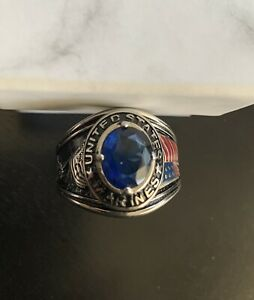 Mens Marine Corps Seal US Military Sapphire Stone Ring
