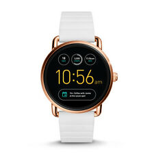 New Fossil Q Wander Gen 2 Rose Gold White Silicone Strap Smart Watch FTW2114