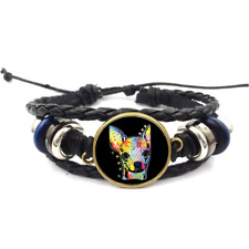 Chihuahua Neon Glass Cabochon Bracelet Braided Leather Strap Bracelets