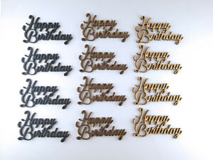happy birthday 4 pack wooden shapes Laser Cut Wooden Craft Blank - 3 colours
