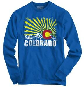 Colorado Flag Rocky Mountains Vacation Gift Long Sleeve Tshirt Tee for Adults