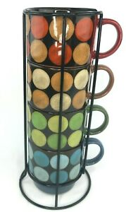Pier 1 Imports Lot of 4 Stacking Coffee Cups Mugs Retro Circle MCM Stoneware
