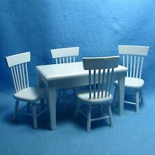 Dollhouse Miniature Kitchen / Dining Room Table with Chairs - White  T0519