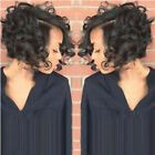 Black  Short Curly Human Hair Lace Front Wigs Women African Glueless Full Wig NT
