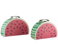 Set of 2 Watermelon Suitcases Storage Vintage Boxes School