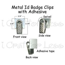 10 Metal Id Badge Paci Pacifier Holder Clips w Adhesive