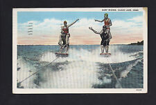 Clear Lake Iowa IA 1935 2 Couples SURF RIDING, Skiing on Flat Boards, Stacked Up
