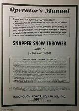 SNAPPER Snow Thrower Blower Operators, Service Manual & Dealer Parts Catalog 24p