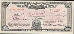 $5 SERIES OF 1939 POSTAL SAVINGS SYSTEM CERTIFICATE