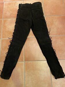 Lederhose, Bikerhose Schwarz Größe 36