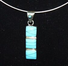 "Turquoise 18""Neck Wire Flexible .925 Sterling Silver Pendant Inlaid"