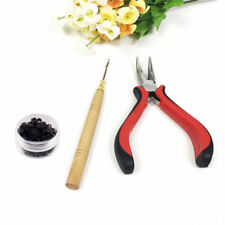 Hair Extensions Pliers Hook Tool Kit For Micro Rings Loop +100pcs Silicone Beads