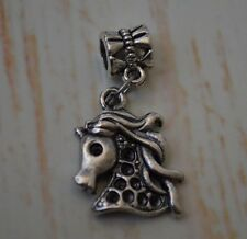Horse Head  Antique Silver Bead Slider Large Hole fits European Charm Bracelet