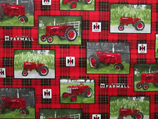 Tractors Farmall Red Tractor Plaid Block Print Cotton Fabric FQ