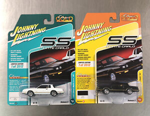 LOT OF 2 JOHNNY LIGHTNING 1987 CHEVY MONTE CARLO SS CLASSIC GOLD  BLACK & WHITE