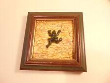 Modern framed decorative tile with high relief frog; Studio label on reverse