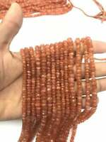 NATURAL SUNSTONE FACETED RONDELLE BEADS 13 inch strand 5-6 mm Hole 0.5 mm