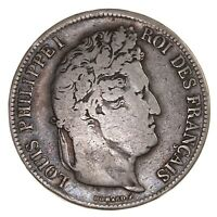 Raw 1834 M France 5F Circulated Silver French 5 Francs Coin