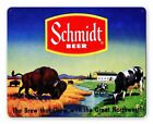 """SCHMIDT BEER BISON COWS ON FARM 15"""" HEAVY DUTY USA MADE METAL ADVERTISING SIGN"""