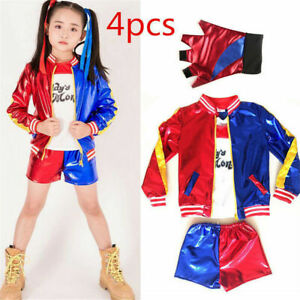 Kids Girls Costume Suicide Squad Harley Quinn Fancy Dress Cosplay Costume Outfit