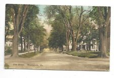 WOODSTOCK, VT Elm Street - Hand colored postcard
