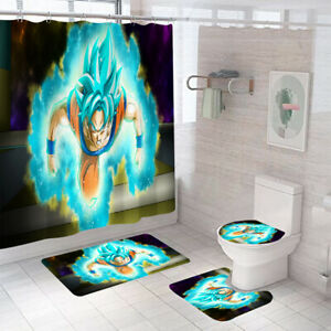 Dragon Ball Goku Super Saiyan Shower Curtain Non-slip Mat Toilet Lid Cover 4PCS