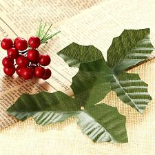 Green Flower Leaves & 50x Artificial Red Holly Berries Garden Wedding Home Decor
