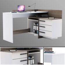 Eck-Schreibtisch EICHE weiß Schreibtisch Computertisch Eckschreibtisch PC-Tisch