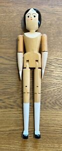 "Eric Horne Handmade Jointed 9"" Peg Wooden Doll - Signed and Dated 2005"