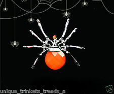 ORANGE SPIDER PIN BROOCH~WOMENS GOTHIC HALLOWEEN COSTUME ACCESSORY WITCH PUMPKIN
