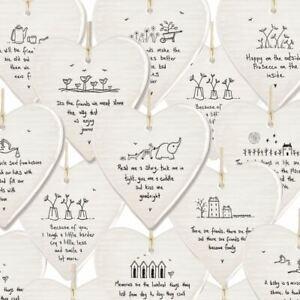 East of India Porcelain Hanging Hearts | Friends Family Keepsake Sentiment Gift