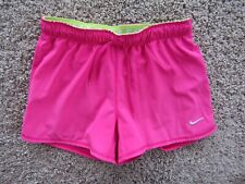 Nike Hot Pink/Lime Dri-Fit Lined Shorts Polyester Blend Size Women's Size L