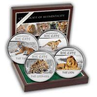 2011 Congo Set 4 x 30 franc Big Cats Lion Cheetah Leopard Tiger Proof Silver