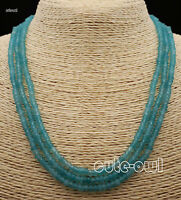 NATURAL 3 Rows 2X4mm FACETED light Blue Aquamarine BEADS NECKLACE