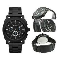 NEW-FOSSIL BLACK TONE,STAINLESS STEEL,CHRONO,BLUE ACCENT BRACELET WATCH FS4552