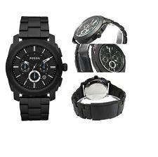 New-Fossil Schwarz Farbe, Edelstahl, Chrono, Blau Akcent Armbanduhr FS4552