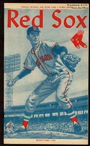 1960  BOSTON RED SOX vs KANSAS CITY A'S  baseball program