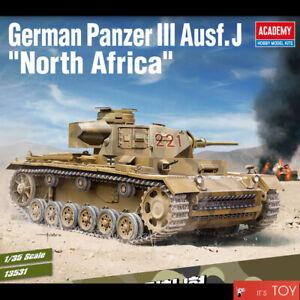 Academy 1/35 German Panzer III Ausf.J North Africa Tank Plastic model kit #13531