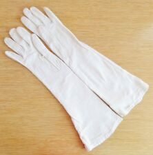 """Vintage Off White Kid Leather Long Gloves Size 5 Xs Silk Lining France 14.5"""""""