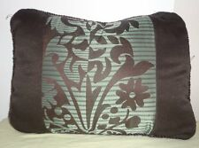 Brown Blue Silver Floral Striped Pillow Throw Rectangular Cushion Decorative
