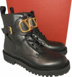 $1395 Valentino Garavani VLOGO Leather Combat Boots Hiking Ankle Booties 39