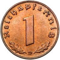 Drittes Reich - Münze - 1 Reichspfennig 1939 D - München - Stempelglanz UNC