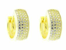 Hoop Earrings 15mm Yellow Gold Finish Sterling Silver ave Set CZ Wide Mens or Wo